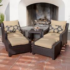 Chair And Ottoman Sets Delano 5 Piece Outdoor Chair And Ottoman With Side Table Set