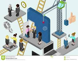 flat 3d isometric business building company online media stock