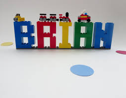kids lego name sign kids room decor made of lego elements