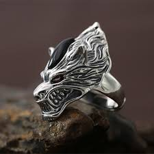 cool finger rings images Gothic silver 925 wolf wide band finger rings men top craft cool jpg
