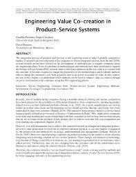 engineering value co creation in product service systems pdf