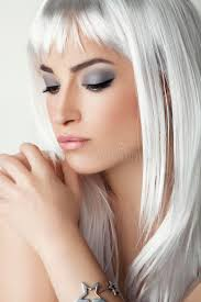 hairstyles for young women with gray hair modern beauty with platinum gray hair stock photo image 82363618
