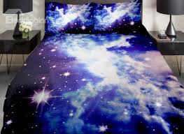 Electric Blue Duvet Cover Beautiful Shining Star With Clouds Print 4 Piece Duvet Cover Sets