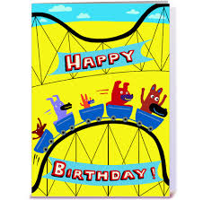 roller coaster birthday greeting card by gravelly art card gnome