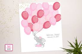 Pink Elephant Nursery Decor by Elephant Shower Guests Alternative Guest Book Pink Elephant