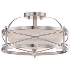 satin nickel light fixtures nuvo 60 5331 2 light semi flush light fixture in brushed nickel