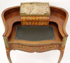 Kidney Shaped Writing Desk Antique French Bronze Mounted Rosewood Marquetry Inlay 3 Drawer