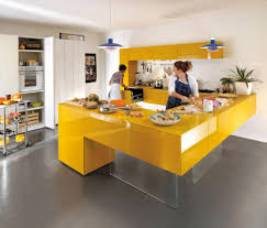 beautiful yellow floating kitchen island with cabinet white and