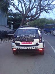 renault duster white renault duster white color test mule rear indian autos blog