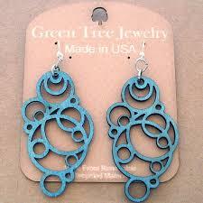 lade laser laser cut wood earrings green tree jewelry teal geometric