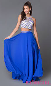 royal blue two piece formal dress promgirl