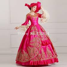 Marie Antoinette Halloween Costumes Royal Palace Red Embroidery Marie Antoinette Dress Victorian Prom