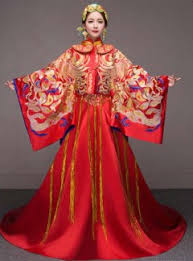 silver gold phoenix embroidered sleeve traditional red chinese