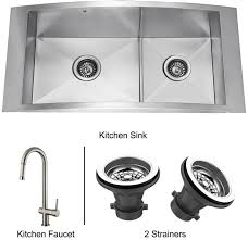 Vigo Stainless Steel Faucet Vigo Industries Vg15119 36 Inch Flushmount Double Bowl Stainless
