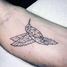 tattoo geometric outline small simple mens hummingbird black ink outline geometrical forearm