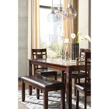 Dining Room Table And Bench Set by Contemporary 6 Piece Dining Room Table Set With Bench By Signature