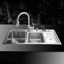 stainless steel double sink undermount 910 430 210mm 304 stainless steel undermount kitchen sink set three