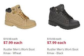 kmart s boots on sale kmart 7 99 rustler s work boots 10 99 up to 20