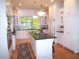 Kitchen Cabinets U Shaped With Island Stainless Steel Countertop Undermount Sink Yellow Kitchen Cabinets