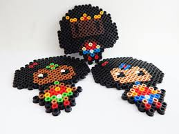 power afropuff girls perler bead magnets litte magnets black