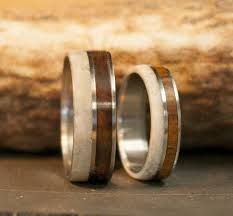 matching titanium wedding bands the raptor matching antler wood wedding bands available in