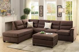 Reversible Sectional Sofas Espresso Bonded Leather Reversible Sectional Sofa Set Pd7609