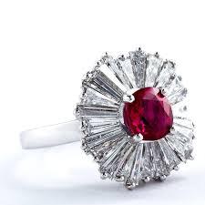 ruby engagement rings classic 1 86 carat cushion cut ruby diamond ballerina ring for