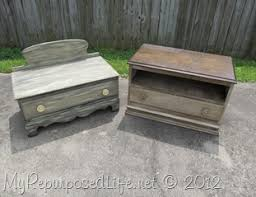 upcycled chest of drawers into a small bench