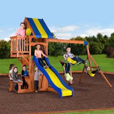terrific backyard discovery tanglewood cedar wooden swing set