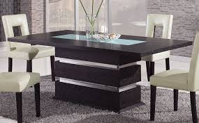 modern dining room sets brown contemporary pedestal dining table with glass inlay