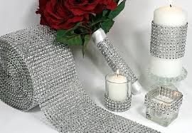 silver wedding mesh wrap roll sparkle rhinestone