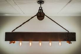 Chandelier With Edison Bulbs 4 Ft Rustic Beam Edison Bulb Chandelier With Vintage Barn