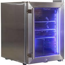 glass door bar fridge stainless steel mini bar fridge with led strip light and lock