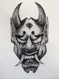 oni mask tattoo design concept by humannisart on deviantart