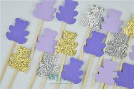 purple baby shower themes 40pcs teddy cupcake toppers teddy theme party decor
