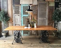 Beech Dining Room Furniture by Vintage Rustic Industrial Beech Top Dining Table On Singer Sewing
