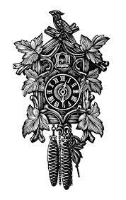 Antique Cuckoo Clock Vintage Clock Clip Art Black And White Clipart Cuckoo Clock