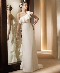 one shoulder wedding dresses 2011 80 designer one shoulder empire sheath column satin chiffon