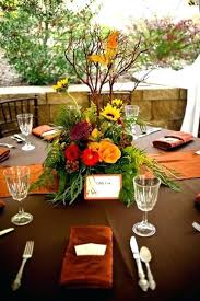 mountain fall wedding orange copper brown table linens sunflowers