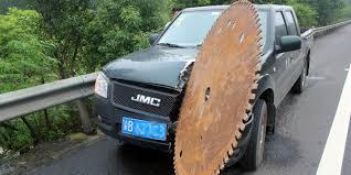 runaway saw blade rolls down highway slices truck narrowly
