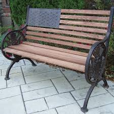 oakland living proud american wood and cast iron park bench