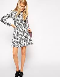 asos skater dress in textured floral with high neck and long