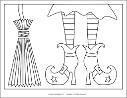 free halloween coloring pages witch shoes witch broom