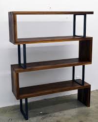 Metal Bookcase Modern Walnut Wood And Steel Ribbon Bookshelf
