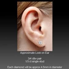 diamond stud size 3 4 carat diamond earrings studs 3 4 carat si1 h excellent