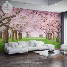 mural on a wall home design nature wall mural chery blossom pathway on a green lawn cherry blossom photo mural self