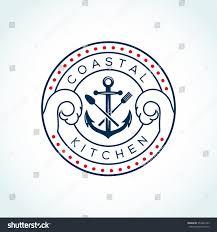 anchor fork knife vector logo design stock vector 554447233