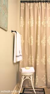 painted shower curtain refresh restyle