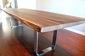Custom Metal And Wood Furniture Salvaged Live Edge Harvest Table Black Walnut Custom Metal