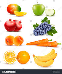 big group different fruit vegetables vector stock vector 436301494